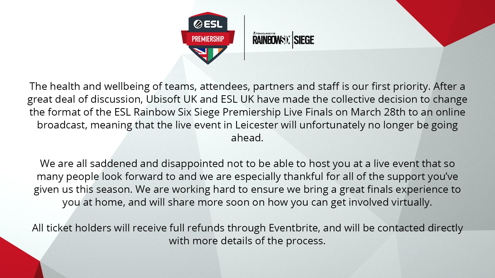 #ESLPrem Rainbow Six Siege Spring 2020 Finals Update